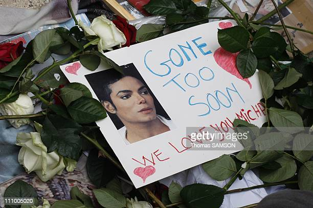 Fans at a gathering in memory of Michael Jackson, near Notre Dame Church in Paris, France on June 26th, 2009.