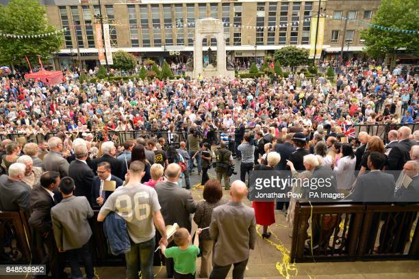 Fans at a reception for Jason Kenny in honour of his two Olympic gold medals at Bolton Town Hall Lancashire