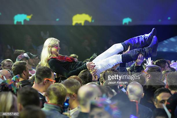 Fans at Bud Light House of Whatever enter the marquee tent to enjoy concerts by Kongos and Nicki Minaj on January 30 2015