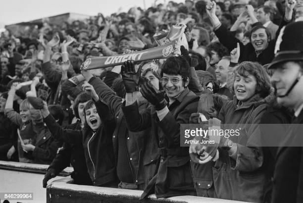 Fans at Leyton Orient FC vs Derby County FC match which ended in a draw London UK 4th January 1975