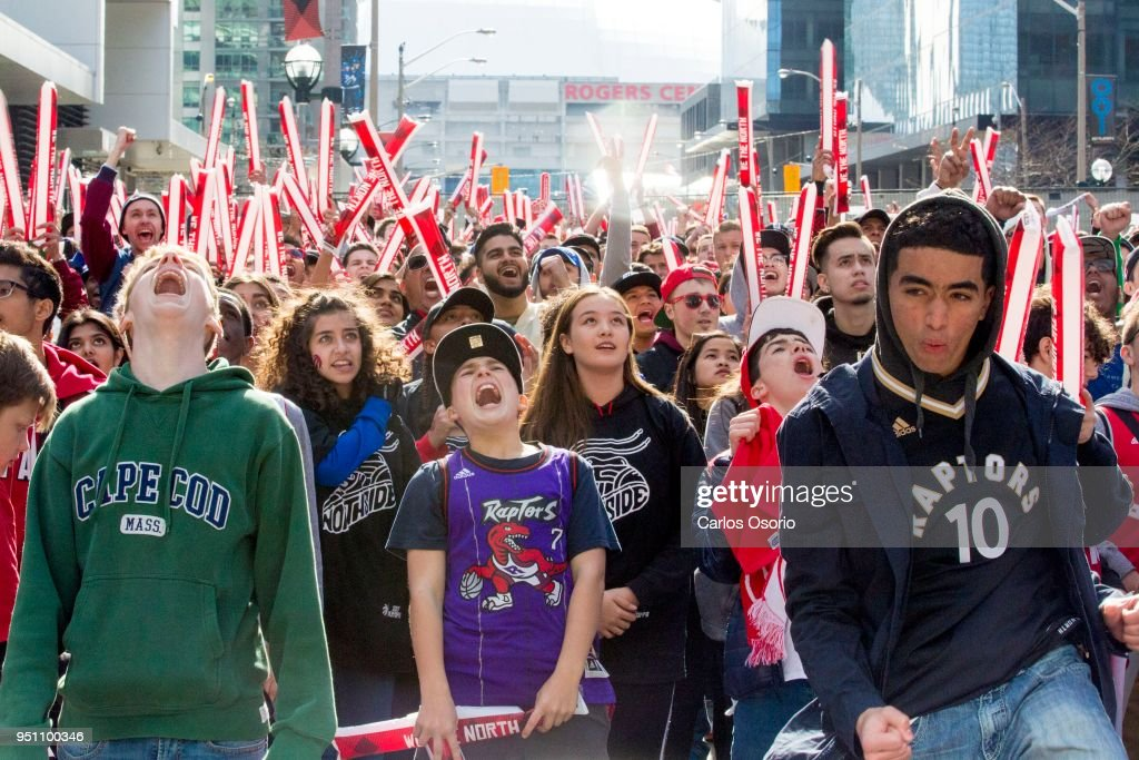 Fans at Maple Leafs square cheer as the Toronto Raptors went on to defeat the Milwaukee Bucks in game 4 to tie the series at 2-2. : News Photo