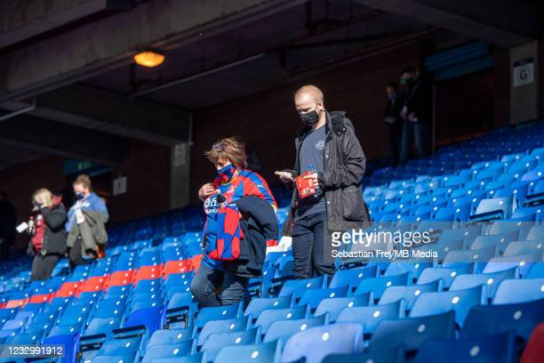 Fans at stadium during the Premier League match between Crystal Palace and Arsenal at Selhurst Park on May 19, 2021 in London, United Kingdom. A...