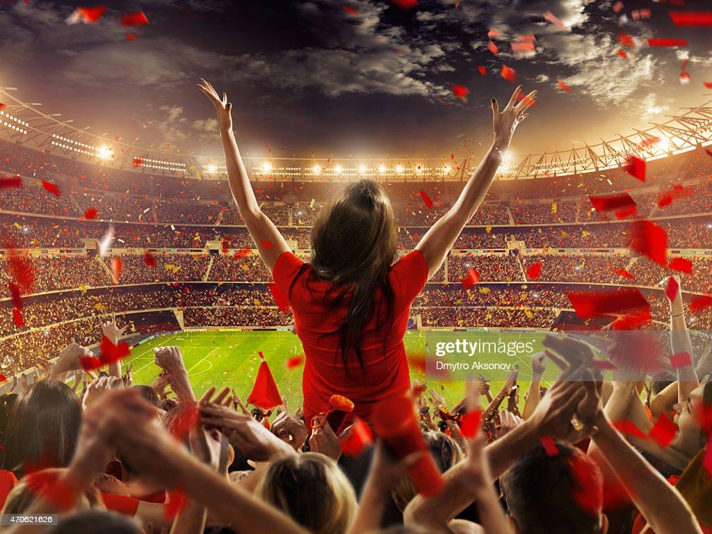 Fans at stadium : Stock Photo