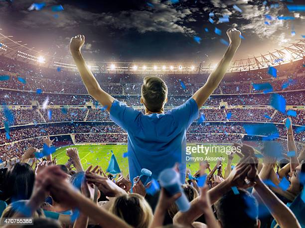 fans at stadium - stadium stock pictures, royalty-free photos & images