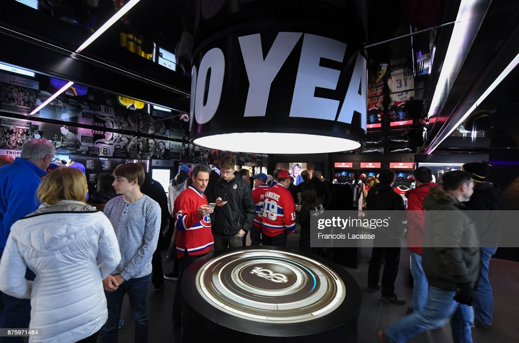 Fans at the Centennial Fan Arena prior to NHL game of the Montreal Canadiens against the Toronto Maple Leafs at the Bell Centre on November 18, 2017 in Montreal, Quebec, Canada.
