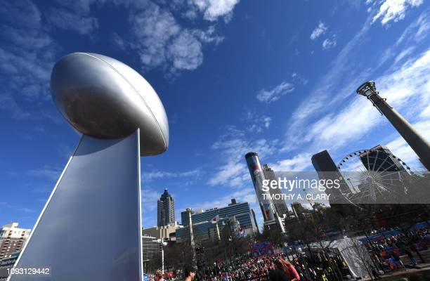 Fans at the Centennial Olympic Park during the Super Bowl Experience outside the World Congress Center in Atlanta Georgia Febuary 2 2019 The New...