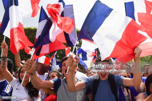 Fans at the 'Champs de Mars' during France against Croatia during the World Cup Final at the Champs de Mars on July 15 2018 in Paris France