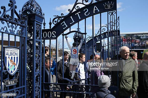 Fans at the Jeff Astle Gates on Jeff Astle Day celebrating the former WBA legend who made his debut against Leicester City