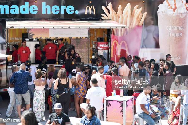 Fans at the McRig during day one of the Pool Groove sponsored by McDonald's during the 2017 BET Experience at Gilbert Lindsey Plaza on June 23 2017...