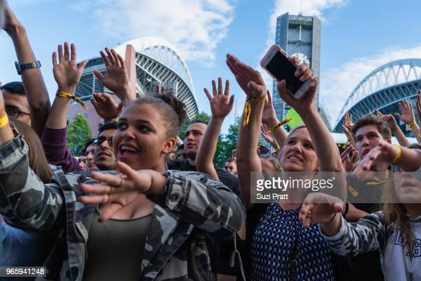 Fans at the Upstream Music Festival in Pioneer Square on June 1 2018 in Seattle Washington