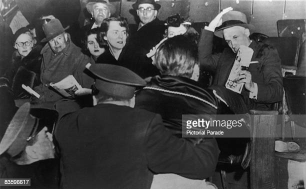 Fans attack NHL president Clarence Campbell during a game at the Montreal Forum Montreal Canada 17th March 1955 The disorder over Campbell's...