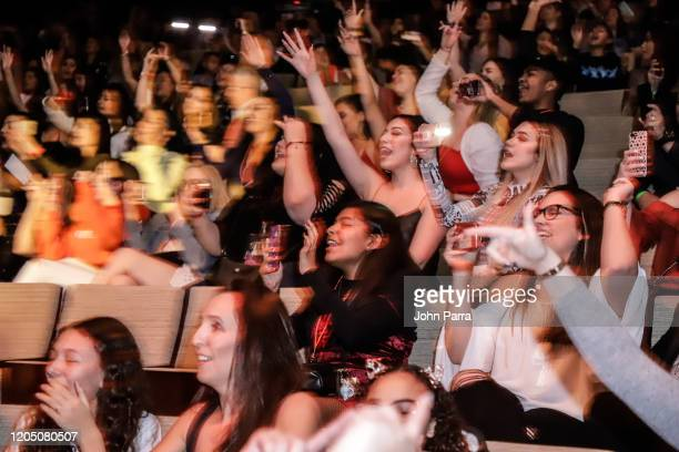 Fans attend a CNCO benefit concert presented by Latin Grammy Cultural Foundation and Frost School of Music on February 08 2020 in Coral Gables Florida