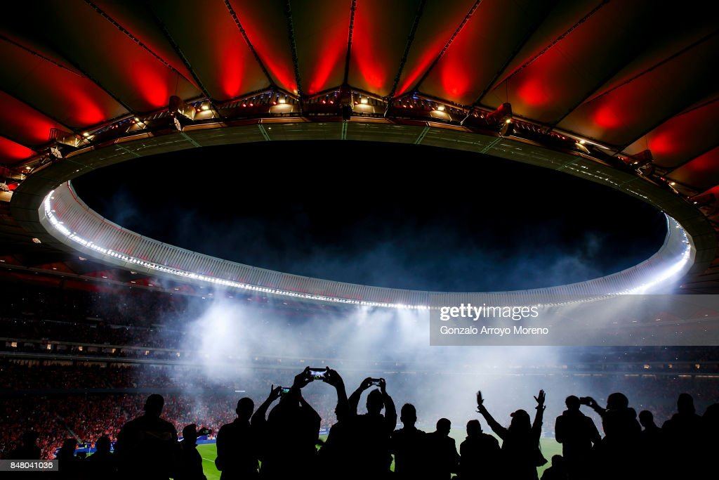 Fans attend a firework show after the La Liga match between Club Atletico Madrid and Malaga CF at Estadio Wanda Metropolitano on September 16, 2017 in Madrid, Spain.