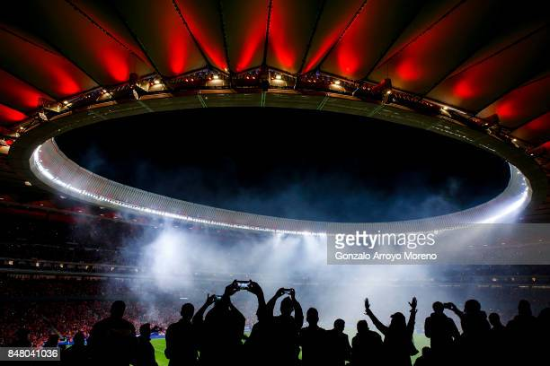 Fans attend a firework show after the La Liga match between Club Atletico Madrid and Malaga CF at Estadio Wanda Metropolitano on September 16 2017 in...