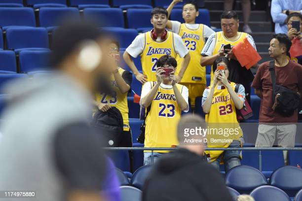Fans attend a preseason game between the Los Angeles Lakers and the Brooklyn Nets as part of 2019 NBA Global Games China on October 10 2019 at...