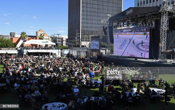 Fans attend a Vegas Golden Knights road game watch party at the Downtown Las Vegas Events Center during Game One of the Western Conference Finals...
