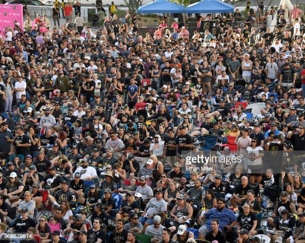 Fans attend a Vegas Golden Knights road game watch party for Game Three of the 2018 NHL Stanley Cup Final between the Washington Capitals and the...