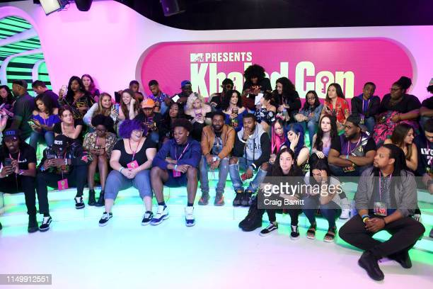 """Fans attend as """"MTV Presents: Khaled Con,"""" a DJ Khaled-hosted fan event in MTV's Times Square Studio, celebrating the release of """"Father Of Asahd"""" at..."""