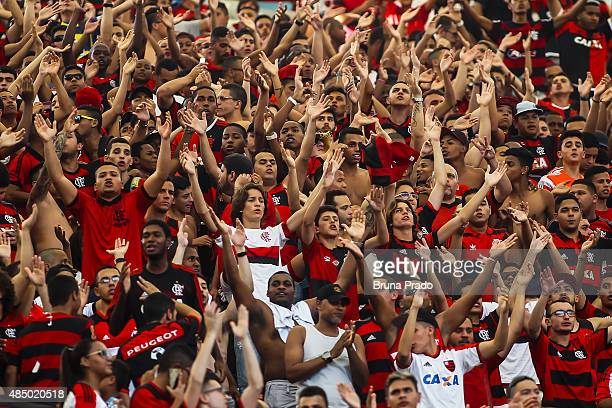 Fans attend before the Brasileirao Series A 2015 match between Flamengo and Sao Paulo at Maracana Stadium on August 23 2015 in Rio de Janeiro Brazil