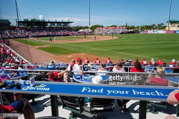 Fans attend Corona Beach Zone during the spring training game between the St. Louis Cardinals and the Miami Marlins in the sixth inning at Roger Dean...