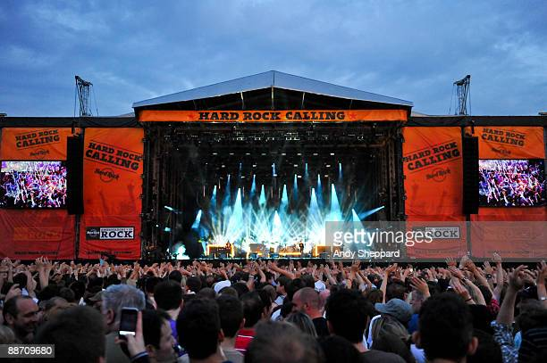 Fans attend day 1 of Hard Rock Calling 2009 at Hyde Park on June 26 2009 in London England