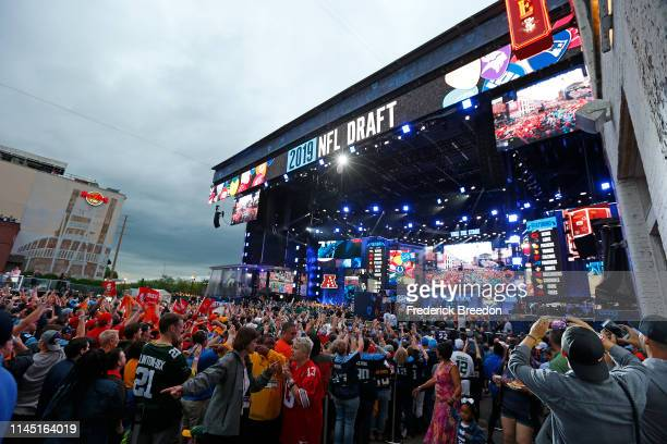 Fans attend Day 1 of the 2019 NFL Draft on April 25 2019 in Nashville Tennessee