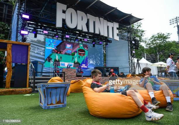 Fans attend day one of the Fortnite World Cup Finals at Arthur Ashe Stadium on July 26 2019 in the Queens borough of New York City