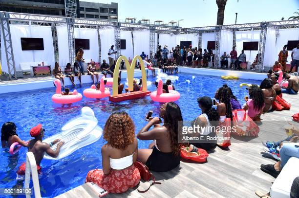Fans attend day one of the Pool Groove, sponsored by McDonald's, during the 2017 BET Experience at Gilbert Lindsey Plaza on June 23, 2017 in Los...