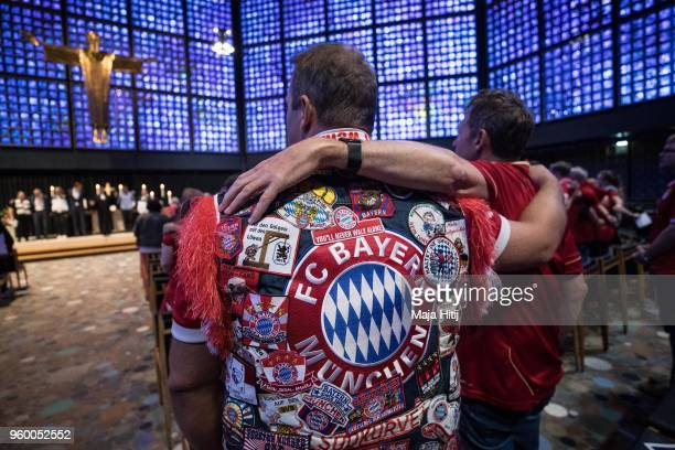 Fans attend Ecumencial Church Service prior DFB Cup Final 2018 on May 19 2018 in the Kaiser Wilhelm Memorial Church in Berlin Germany