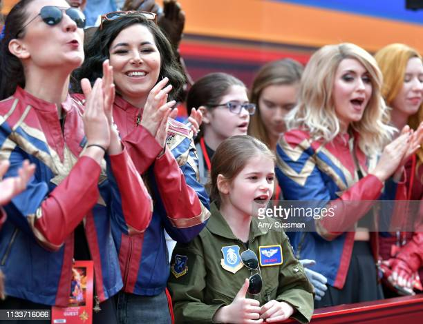Fans attend Marvel Studios Captain Marvel Premiere on March 04 2019 in Hollywood California