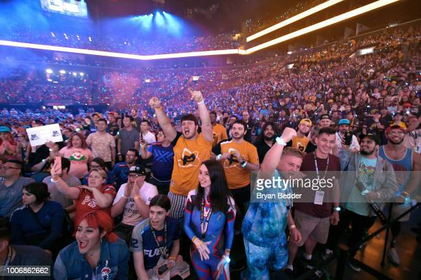 Fans attend Overwatch League Grand Finals Day 2 at Barclays Center on July 28 2018 in New York City