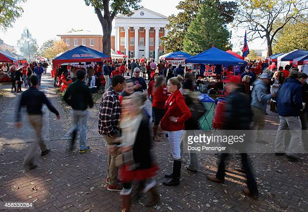 Fans attend pregame parties in The Grove as the Auburn Tigers face the Mississippi Rebels at VaughtHemingway Stadium on November 1 2014 in Oxford...