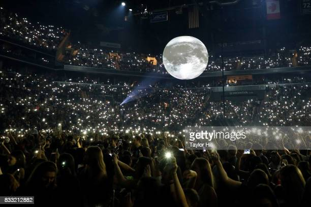 Fans attend Shawn Mendes' 'Illuminate' tour at Barclays Center of Brooklyn on August 16 2017 in the Brooklyn borough of New York City