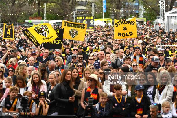 Fans attend the 2017 AFL Grand Final Parade ahead of the Grand Final between the Adelaide Crows and the Richmond Tigers on September 29 2017 in...