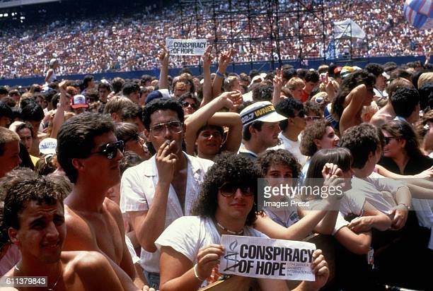 Fans attend the Amnesty International Concert at Giants Stadium circa 1986 in East Rutherford New Jersey