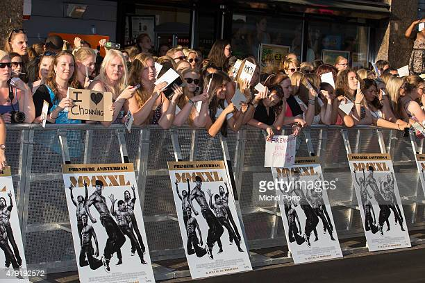 Fans attend the Amsterdam premiere of Magic Mike XXL on July 1 2015 in Amsterdam Netherlands