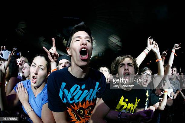 Fans attend the Blink182 concert at Madison Square Garden on October 4 2009 in New York City
