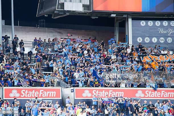Fans attend the Chicago Fire vs New York City FC match at Yankee Stadium on September 23 2016 in New York City New York City FC defeats Chicago Fire...