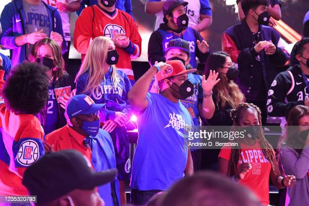 Fans attend the LA Clippers ground breaking on Intuit Dome on September 17, 2021 in Inglewood, California. NOTE TO USER: User expressly acknowledges...