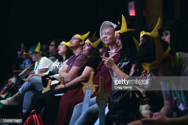 Fans attend the DreamWorks SheRa and the Princesses of Power a Netflix Original Series panel during New York Comic Con 2018 at Hammerstein Ballroom...