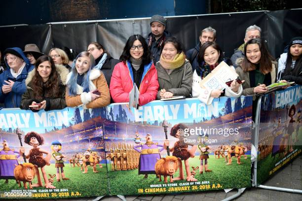 Fans attend the 'Early Man' World Premiere held at BFI IMAX on January 14 2018 in London England