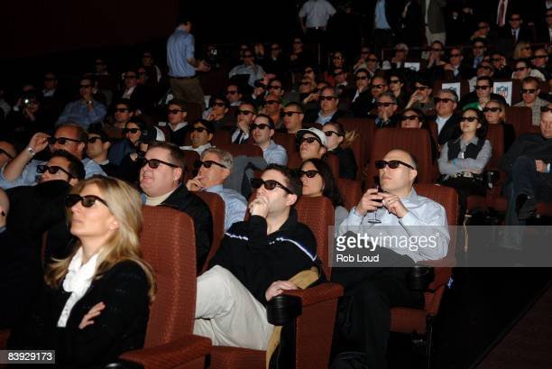 Fans attend the first live 3D broadcast of an NFL game, San Diego Chargers vs. Oakland Raiders, at Clearview Chelsea Cinemas on December 4, 2008 in...