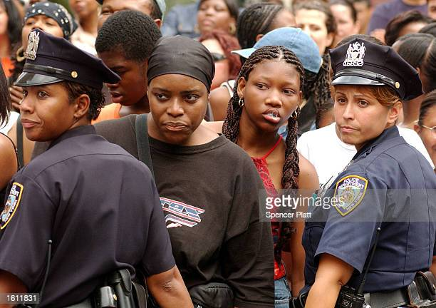 Fans attend the funeral service for RB singer Aaliyah at St Ignatius Loyola Church August 31 2001 in New York City The 22yearold singer died August...