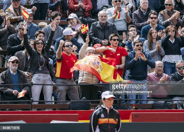 Fans attend the match between David Ferrer of Spain and Alexander Zverev of Germany during day one of the Davis Cup World Group Quarter Finals match...