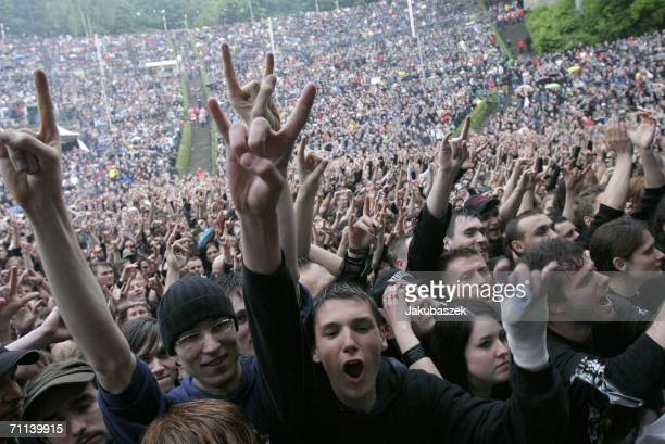 Fans attend the Metallica concert at the Waldbuehne June 6 2006 in Berlin Germany The show was part of their 2006 European tour which ends June 17