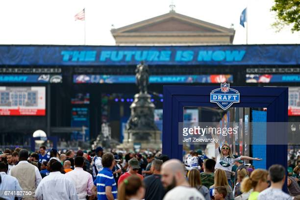 Fans attend the NFL Draft Experience prior to the first round of the 2017 NFL Draft at the Philadelphia Museum of Art on April 27 2017 in...
