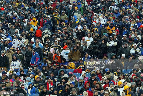 Fans attend the NHL Winter Classic between the Buffalo Sabres and the Pittsburgh Penguins at the Ralph Wilson Stadium on January 1 2008 in Orchard...