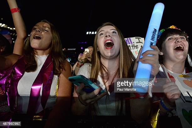 Fans attend the One Direction concert at Gillette Stadium on September 12 2015 in Foxboro Massachusetts