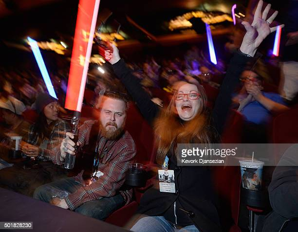 Fans attend the opening night of Walt Disney Pictures and Lucasfilm's Star Wars The Force Awakens at TCL Chinese Theatre on December 17 2015 in...