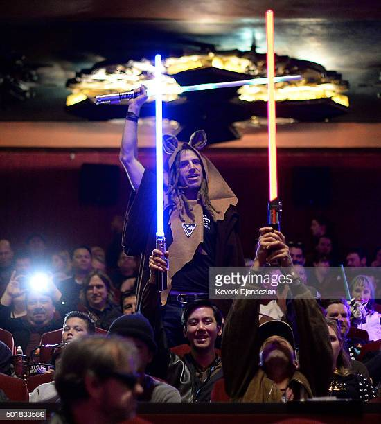 Fans attend the opening night of Walt Disney Pictures and Lucasfilm's 'Star Wars The Force Awakens' at TCL Chinese Theatre IMAX on December 17 2015...